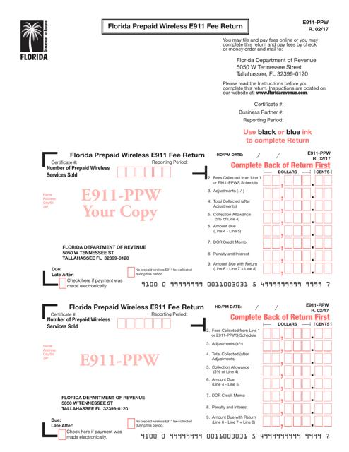 Form E911-PPW  Printable Pdf