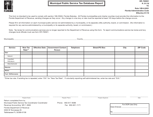 Form DR-700001  Printable Pdf
