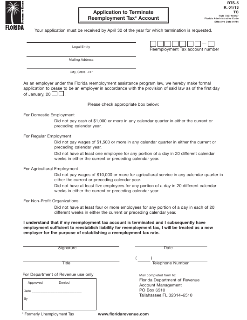 Form RTS-5  Printable Pdf