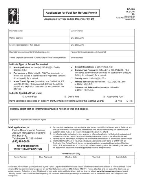 Form DR-185 Printable Pdf