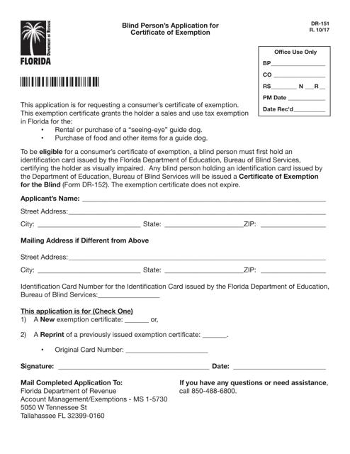 Form DR-151  Printable Pdf