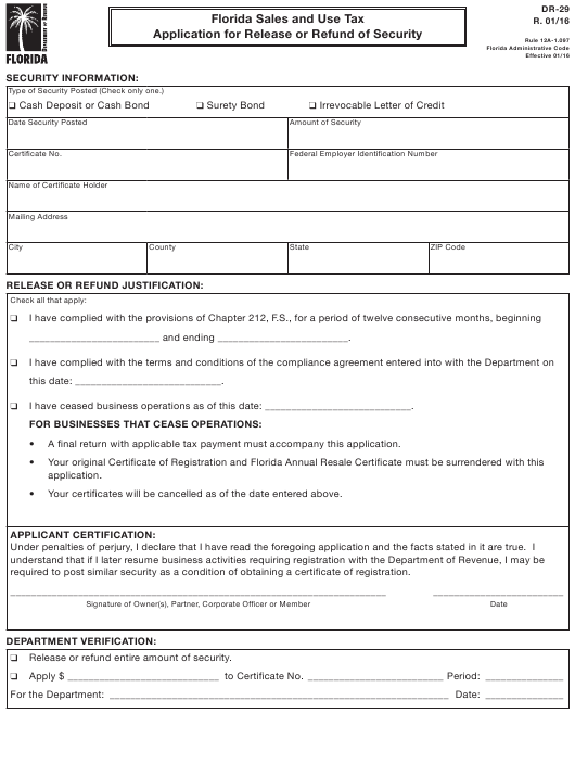 Form DR-29  Printable Pdf