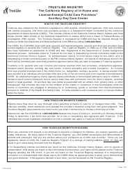 "Form TLR4 ""Trustline Registry Ancillary Day Care Center Provider Application"" - California"