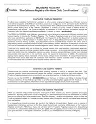 "Form TLR2 ""Trustline Registry in-Home/License Exempt Child Care Provider Application"" - California"