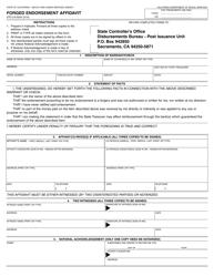 "Form STO-CA-0034 ""Forged Endorsement Affidavit"" - California"