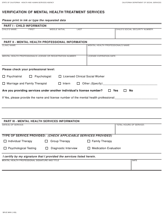 Form SR2C MHV  Printable Pdf