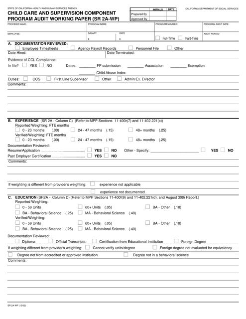 Form SR2A-WP  Printable Pdf