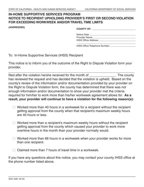 Form SOC2281  Printable Pdf