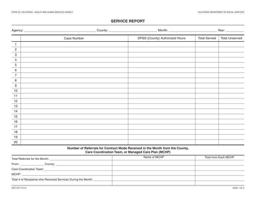 Form SOC2277  Printable Pdf