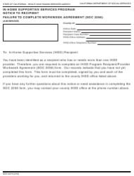 "Form SOC2270 ""In-home Supportive Services Program Notice to Recipient Failure to Complete Workweek Agreement (Soc 2256)"" - California"