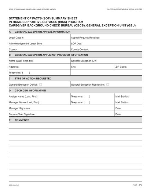 Form SOC871  Printable Pdf