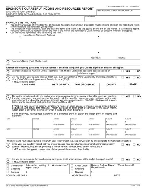 Form QR72  Printable Pdf