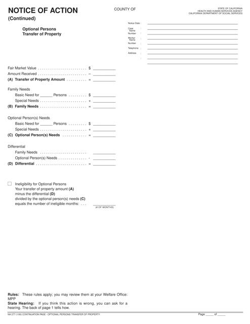Form NA277  Printable Pdf