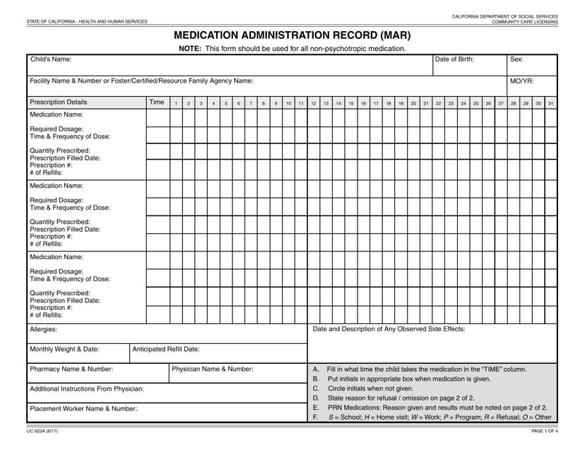 Form LIC 622a Printable Pdf