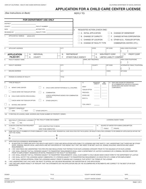 Form LIC200A Printable Pdf
