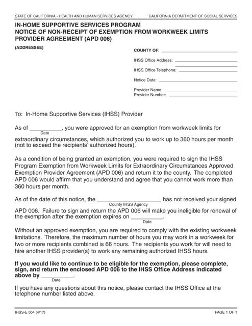 Form IHSS-E004  Printable Pdf