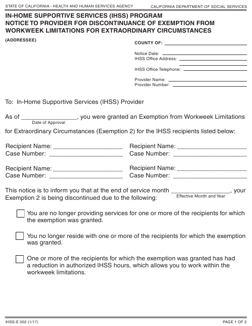 Form IHSS-E002  Printable Pdf