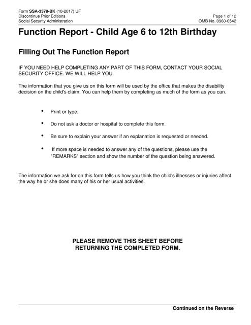 Form SSA-3378-BK Printable Pdf