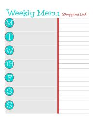 Weekly Menu - Shopping List Template