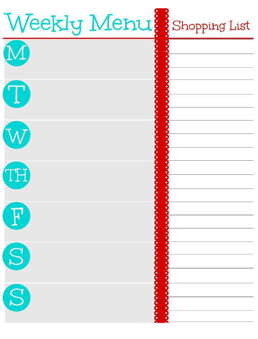"""Weekly Menu and Shopping List Template"" Download Pdf"