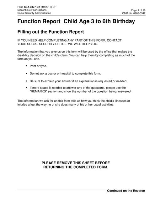 Form SSA-3377-BK Printable Pdf