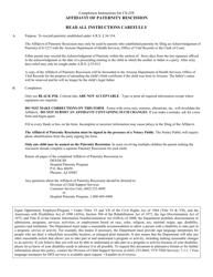 "Form CS-258 ""Affidavit of Paternity Rescission"" - Arizona (English/Spanish)"