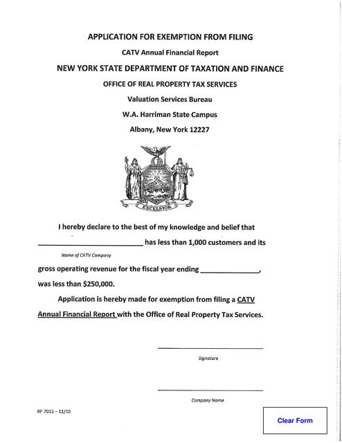Form RP-7012  Printable Pdf