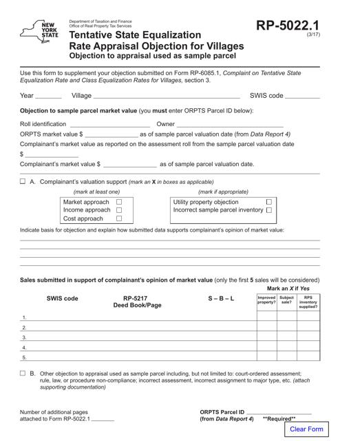 Form RP-5022.1  Printable Pdf