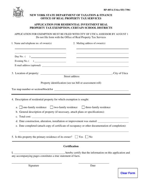 Form RP-485-K [UTICA SD]  Printable Pdf