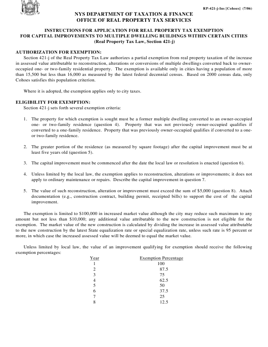 New York City Real Estate Taxes Are The Unfairest Of Them: Download Instructions For Form RP-421-J [COHOES