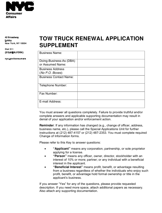 """Tow Truck Renewal Application Supplement"" - New York City Download Pdf"