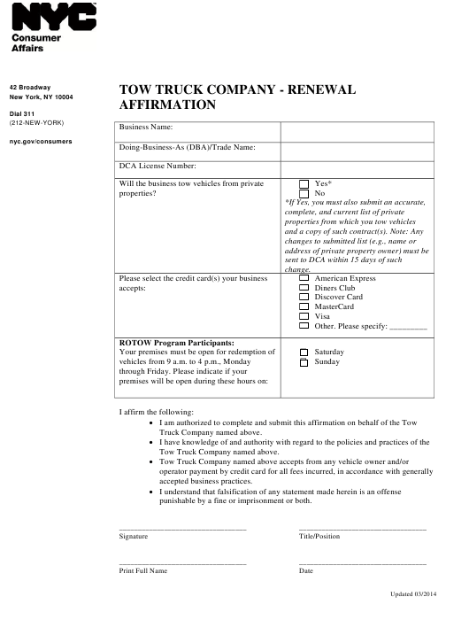 """Tow Truck Company - Renewal Affirmation"" - New York City Download Pdf"