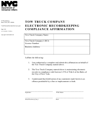 """""""Tow Truck Company Electronic Recordkeeping Compliance Affirmation"""" - New York City"""