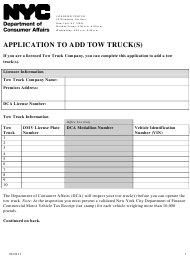 """Application to Add Tow Truck(S)"" - New York City"