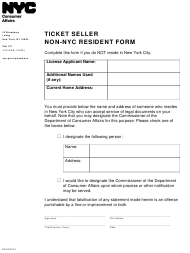 """Ticket Seller Non-nyc Resident Form"" - New York City"