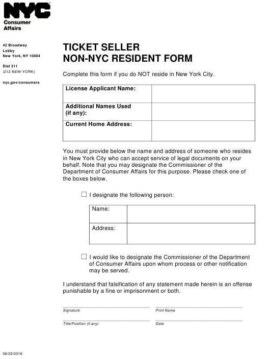 """""""Ticket Seller Non-nyc Resident Form"""" - New York City Download Pdf"""