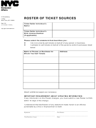 """""""Roster of Ticket Sources"""" - New York City"""