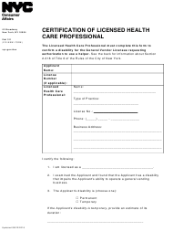 """Certification of Licensed Health Care Professional"" - New York City"