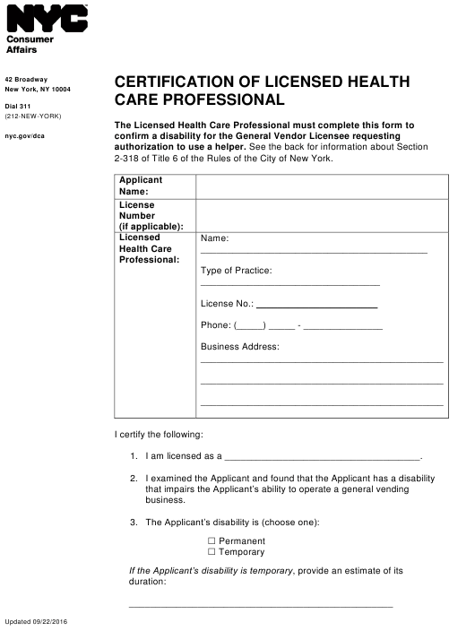 """""""Certification of Licensed Health Care Professional"""" - New York City Download Pdf"""