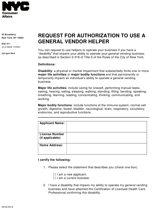 """Request for Authorization to Use a General Vendor Helper"" - New York City Download Pdf"