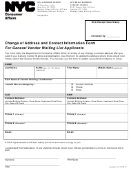 """Change of Address and Contact Information Form for General Vendor Waiting List Applicants"" - New York City"