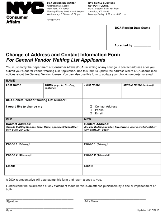 """""""Change of Address and Contact Information Form for General Vendor Waiting List Applicants"""" - New York City Download Pdf"""