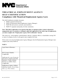 """Theatrical Employment Agency Self-certification Form"" - New York City"