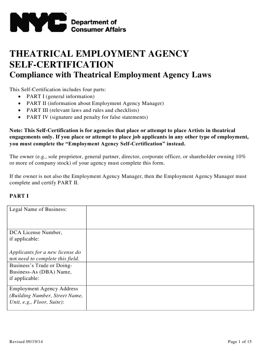 """""""Theatrical Employment Agency Self-certification Form"""" - New York City Download Pdf"""