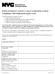 """Employment Agency Self-certification"" - New York City"