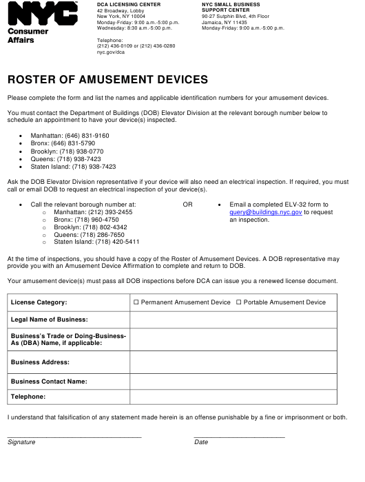 """""""Roster of Amusement Devices"""" - New York City Download Pdf"""