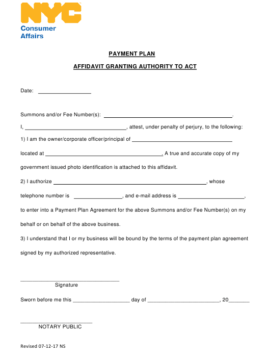"""""""Affidavit Granting Authority to Act (For Collection Matters)"""" - New York City Download Pdf"""