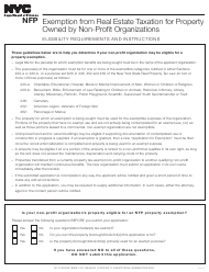 """Form NFP """"Application for Exemption From Real Estate Taxation for Property Owned by Non-profit Organizations"""" - New York City"""