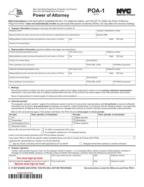 Form POA-1  Printable Pdf
