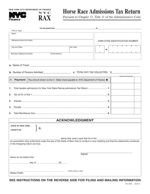 Form NYC-RAX  Printable Pdf